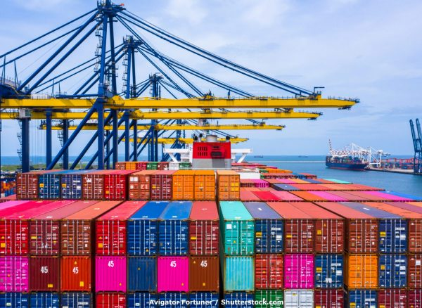 Container,Ship,Loading,And,Unloading,In,Sea,Port,,Aerial,View